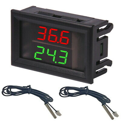 Dual Thermometer W1230 + 2 x NTC Probe Wire 50cm Digital Double LED Display