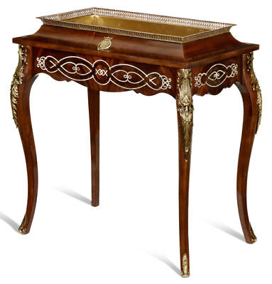 Mother of Pearl Inlaid Crotch Mahogany Jardiniere