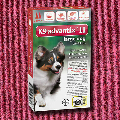 K9 Advantix II for Red Large Dog 21-55lbs - 6 Pack (US EPA Approved)