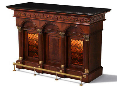 Crotch Mahogany Wine Server with Black Stone Top
