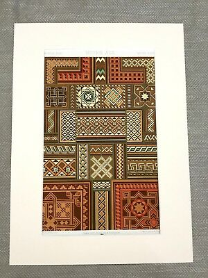 Antique Victorian Print Lithograph Medieval French Marquetry Woodwork Design