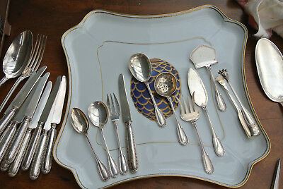 "48 pc Antique French PUIFORCAT Sterling Silver Dessert Set, ""Suffren"" Lorbeer"
