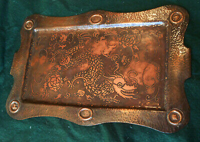 1930s Arts and Crafts Hand Hammered Copper Tray w/ Dragon and Card Suits 20 x 13