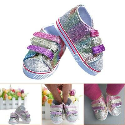 """Blue Denim Canvas Tennis Sneaker Shoes made for 18/"""" American Girl Doll Clothes"""
