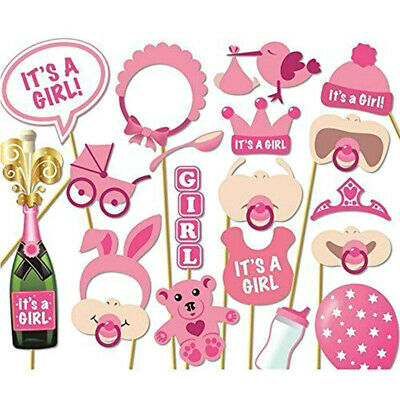 19PCS Baby Shower Girl Photo Booth Props Selfie New Born Party Game Decoration