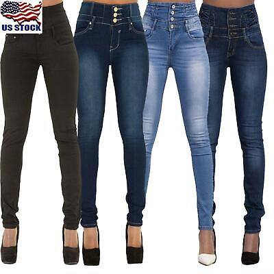 Women Stretch Pencil Pants High Waist Skinny Jeans Casual Slim Long Trousers US