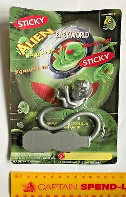 Awesome Vintage 1990S Alien Baby World Rubber Grey Fetus Rack Stretchy Toy Moc!