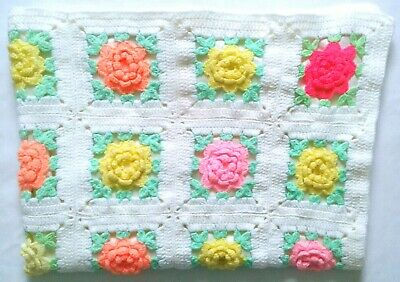 Handmade Crochet/Knit Baby Crib Blanket 3D Raised Flowers Lined Peach Yellow