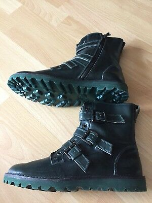 Beautiful Designer MAX&Co Green Leather Biker Boots UK 7 EUR 40 New