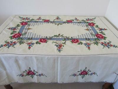 UNUSED Vintage Prettiest Roses Cross Stitch Embroidery Large TABLECLOTH