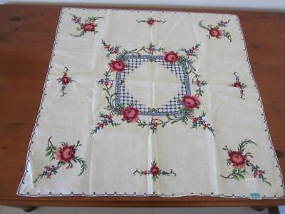 UNUSED Vintage Prettiest Roses TABLECLOTH Cross Stitch Embroidery Square