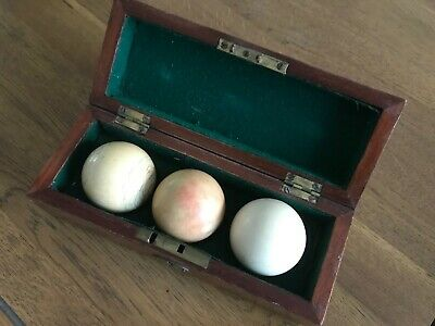 Antique Set Billiard Snooker Balls Boxed late 1880s for snooker table