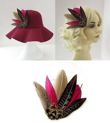 Burgundy Wine Red Brown Pheasant Feather Hat Pin Brooch or Fascinator Races 7990