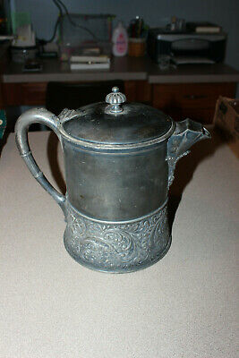 Antique Silverplate 1868 Teapot Ornate w/Enamel Interior  BEAUTIFUL !!!!!