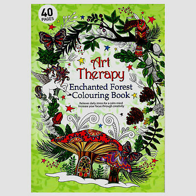 NEW Art Therapy Enchanted Forest Colouring book For Adults Creative Anti Stress