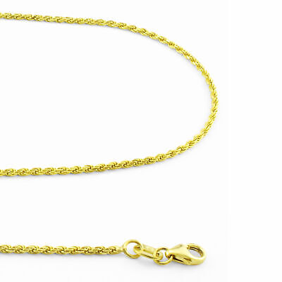 Solid 14K Yellow Gold Women 1.8mm Rope Chain Pendant Necklace Lobster Clasp- 18""