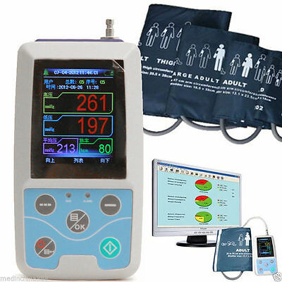Medical 24h Ambulatory Blood Pressure Monitor ABPM Holter NIBP MAPA+ 3Cuffs USA