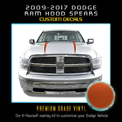 For 2009-2017 Dodge Ram Hood Spears Graphic Decal Stripes Set Satin Matte Chrome