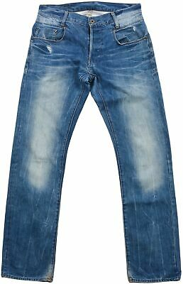 G-Star Raw Denim Kids Youth Jeans Button Fly Slim Straight Leg 31/32 Blue Faded