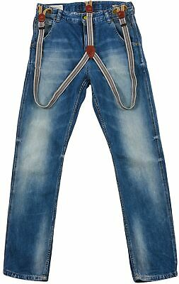 Scotch & Soda Brewer Suspender jeans Tapered Denim Adjustable Elastic Kids Pants