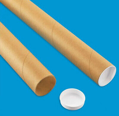 """2 Mailing Tubes with End Caps (2"""" x 24"""") Shipping Poster Artwork Print Packing"""