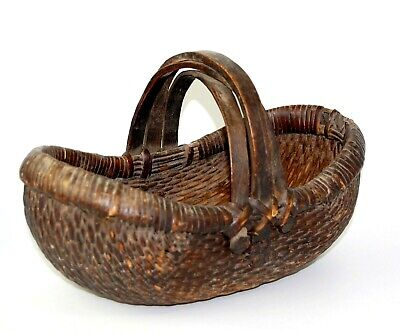 Antique Chinese Willow Basket Three Intersecting Bent Wood Handles 13 Inches