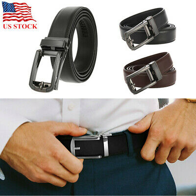 Genuine Leather Belt For Men Ratchet Autonomic Buckle Belt Black Coffee Gift US