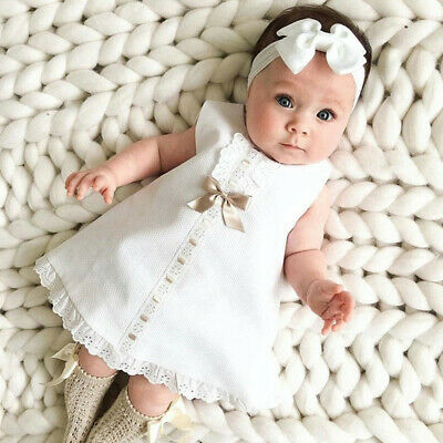 Newborn Infant Baby Girl Solid Lace Short Sleeve Dress Bow Headband Set Clothes