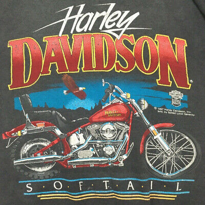 Vtg 80s Harley Davidson Sweatshirt Softail Eagle Motorcycle Bike SpeedLimit 70 L