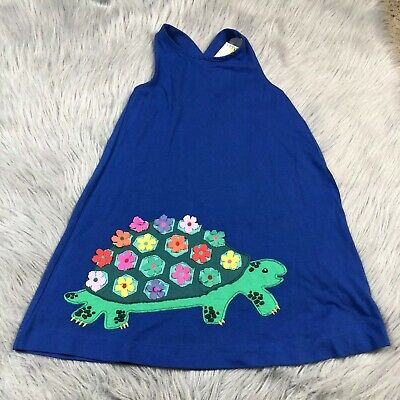 Mini Boden Girls 4-5y Blue Turtle Floral Dress
