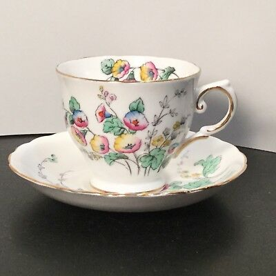 Tuscan Fine English Bone China - Cup & Saucer - Wild Flowers  C9293 Green Yellow