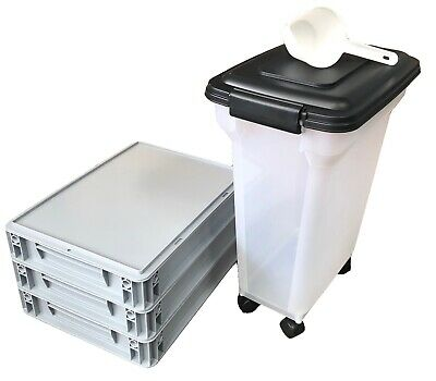 Home Made Pizza Dough Starter Pack - 3 x Stacking Trays + 20L Airtight Flour Bin