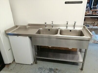 Stainless Steel Double Catering Sink with Shelf
