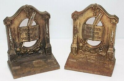 Antique Bradley and Hubbard Latin Phrases Bookends- Knowledge is Power