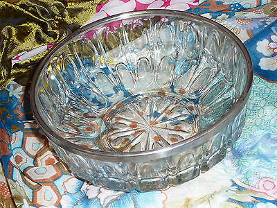 Beautiful Metal Rimmed Large Vintage Decorative Pressed Glass Bowl VGC