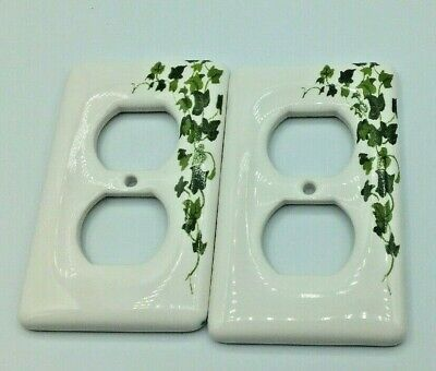 Set of 2 Porcelain Leviton IVY WALL OUTLET PLUG Plate covers