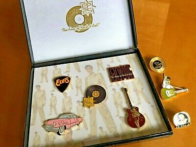 """2002 ELVIS PRESLEY """"King of Rock & Roll"""" 25th 5 Piece Boxed Pin Set + 3 extra!"""