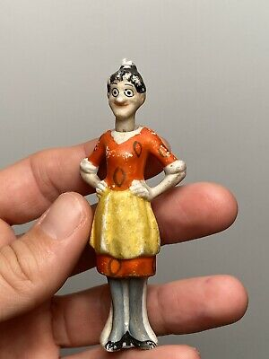 """Early Antique German Bisque Comic Nodder 2"""" Emma Made in Germany Paint Wear"""
