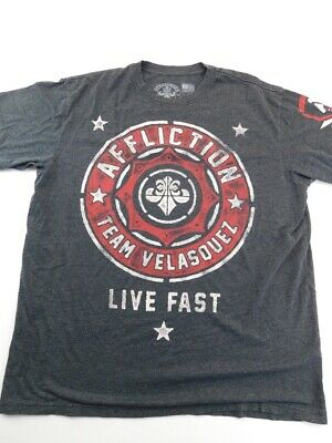 Affliction Team Vasquez Live Fast Mens Graphic T-Shirt Black USA Distressed 2XL