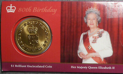 New Zealand 2006 QEII 80th Birthday $1 Dollar  Uncirculated Coin in wallet
