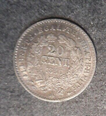 France  1850 A 20 Cent silver  coin  -High grade part Lustre
