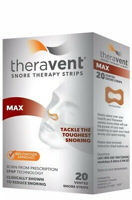 6- Theravent Snore Therapy Strips - Max - 20 strips/box - Exp 2/21 FDA Approved