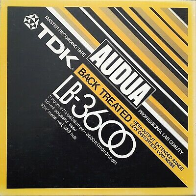 "TDK Audua LB-3600 Back Treated Master Recording Tape 10.5"" Metal Reel NAB Hub"