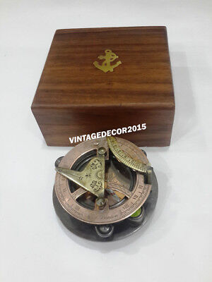 Nautical Sundial Compass Copper & Antique West London With Anchor Wooden Box