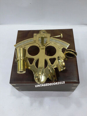 Nautical Solid Brass Sextant Vintage Marine Working Navy Sextant With Wooden Box