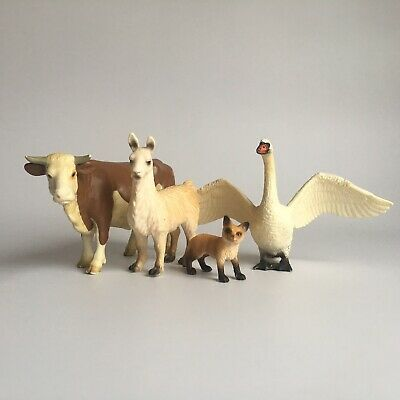 Schleich Farm Animals Bundle Cow Swan Fox Cub Llama Model Toy Figures