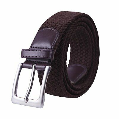 HDE Mens Canvas Stretch Belt Elastic Fabric Woven Braided Belts Metal Pin Buckle