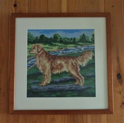 Lovely Completed & Framed Grafitec Tapestry Picture - Golden Retriever Dog