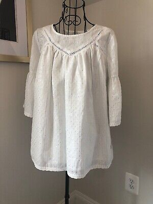 Cat & Jack NWT Girls Size XL 14/ 16 White / Silver Top Lined 3/4 Sleeve