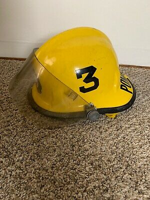 Vintage Cairns & Bro Model 770 Fire Helmet With Face Shield & Neck Liner Yellow